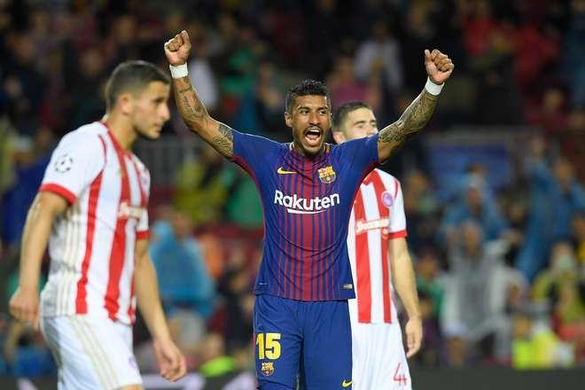Paulinho comemora a vitória do Barça - LLUIS GENE / AFP