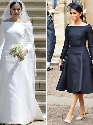 Vestido Givenchy usado em seu casamento e o vestido Dior - Reprodução/Getty Images