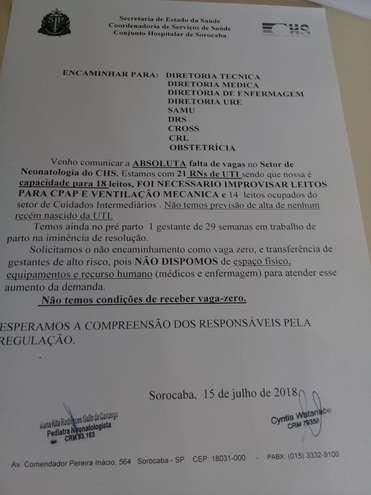 Ofício foi encaminhado ao Samu, Cross, Prefeitura e DRS 16 para informar que não há vaga e nem recursos humanos para atendimento - ERICK PINHEIRO